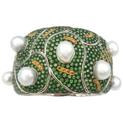 Baroque White South Sea Pearls Tsavorite Yellow Orange Sapphire Gold Cuff Bangle