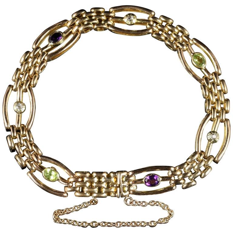 Antique Victorian Suffragette Bracelet, circa 1900 15 Carat Gold