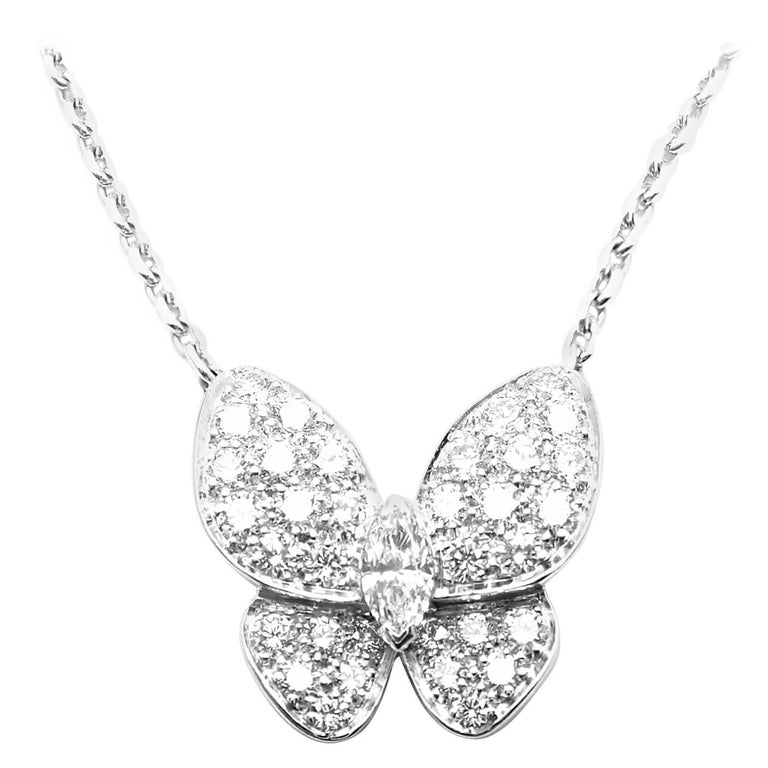 Van Cleef & Arpels Diamond Butterfly Papillon White Gold Necklace