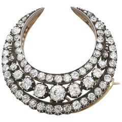 Antique 1880s Diamond Crescent Brooch