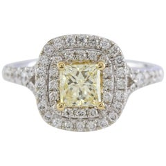 Fancy Yellow HRD Certificated 0.96 Carat Diamond Ring