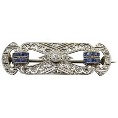 1950s Vintage Sapphire and Diamond Plaque Brooch, White and Yellow Gold