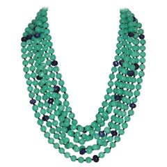 Chrysophrases and Blue Sapphires Multi-Strand Necklace
