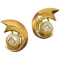1940s Italian Retro Diamond Granulated Gold Clip Post Earrings
