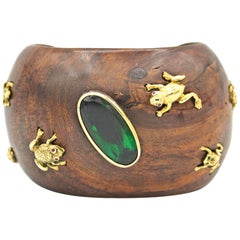 Green Topaz & Yellow Wood Cuff Bracelet