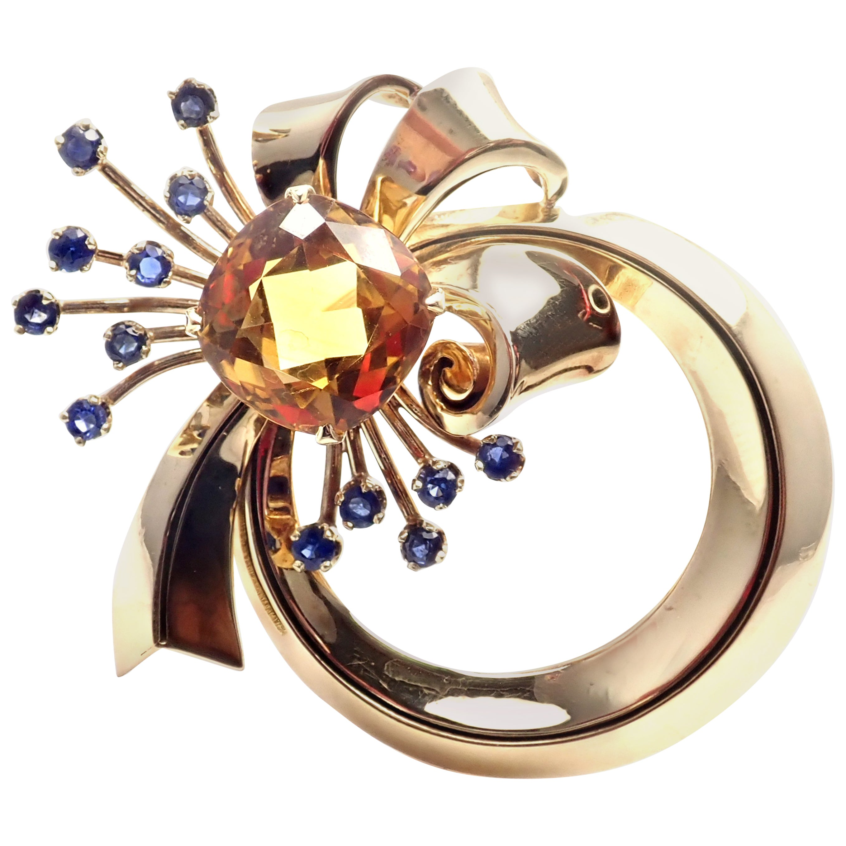 Vintage Tiffany & Co. Sapphire Citrine Yellow Gold Pin Brooch