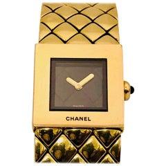 Chanel Yellow Gold Matelasse Quilted Bracelet Quartz Wristwatch