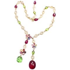 Bulgari Multicolor Sapphire Flower Diamond Rubellite Peridot Gold Necklace