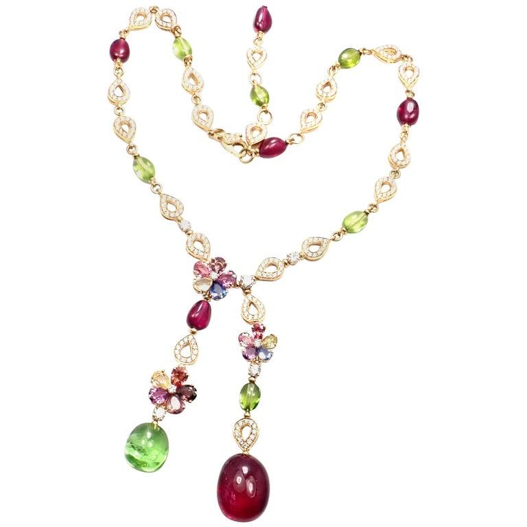 Bulgari Multicolor Sapphire Flower Diamond Rubellite Peridot Gold Necklace