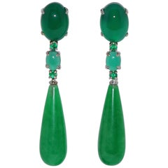 Jades, Agates and Emeralds White Gold Chandelier Earrings