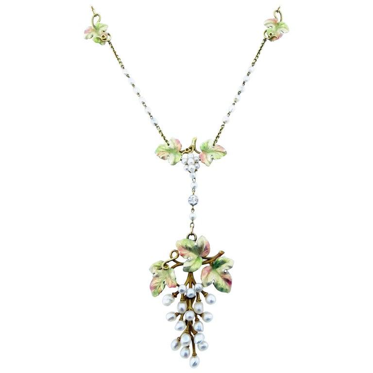 Exquisite Art Nouveau Natural Pearl Enamel and Diamond Necklace