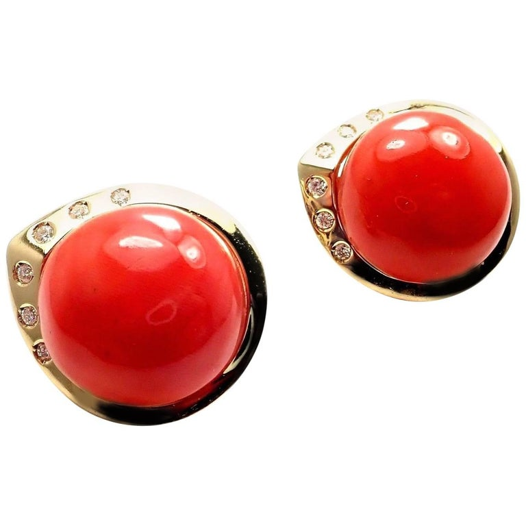 Estate Large Red Oxblood Coral Diamond Yellow Gold Earrings