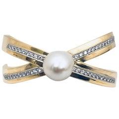 Perfect Paloma Picasso Tiffany & Co. 18 Karat Pearl and Diamond Cuff Bracelet
