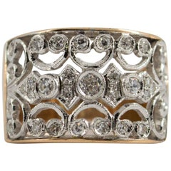 Renaissance Style 0.50 Carat Diamond Yellow Gold Ring