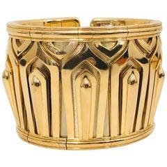 Captivating Cartier 18 Karat Pharoan Collection Cuff Bracelet
