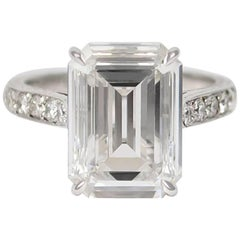 GIA Certified 4.11 Carat Emerald Cut Diamond Ring