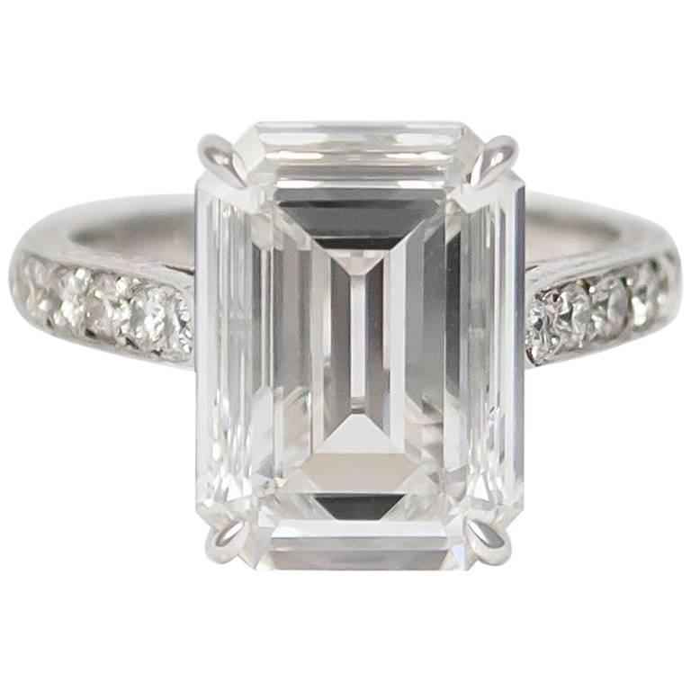 GIA Certified 4.11 Carat Emerald Cut Diamond Ring For Sale