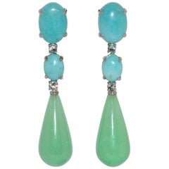 Jades, Amazonites and Sapphires White Gold Chandelier Earrings