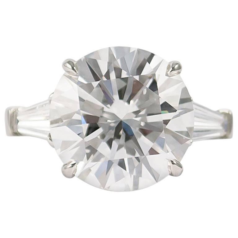 GIA Certified 9.30 Carat E SI1 J. Birnbach Round Brilliant Diamond Ring