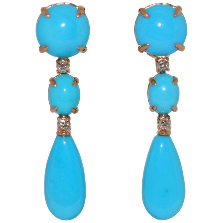 Turquoises and Diamonds Rose Gold Chandelier Earrings