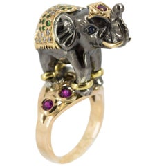 Ruby Tsavorite Diamond Yellow Gold Elephant Cocktail Ring