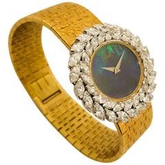 Piaget Ladies Yellow Gold Diamond Black Opal Dial manual Wristwatch