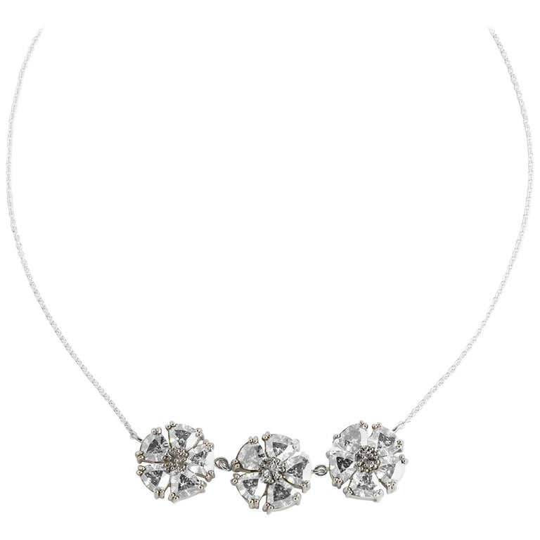 """.925 Sterling Silver 15 x 7 mm White Sapphire 16"""" 123 Blossom Stone Necklace"""