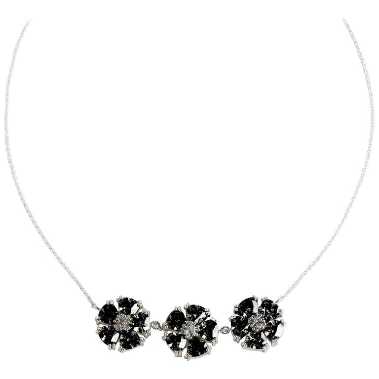 """.925 Sterling Silver 15 x 7 mm Black Sapphire 16"""" 123 Blossom Stone Necklace"""