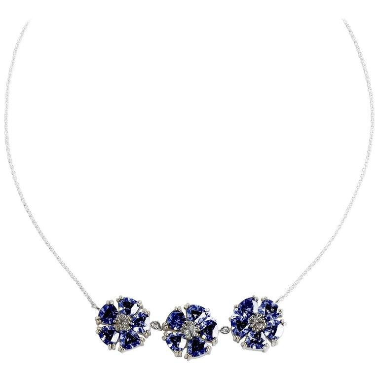 ".925 Sterling Silver 15 x 7 mm Dark Blue Sapphire 16"" 123 Blossom Stone Necklace"
