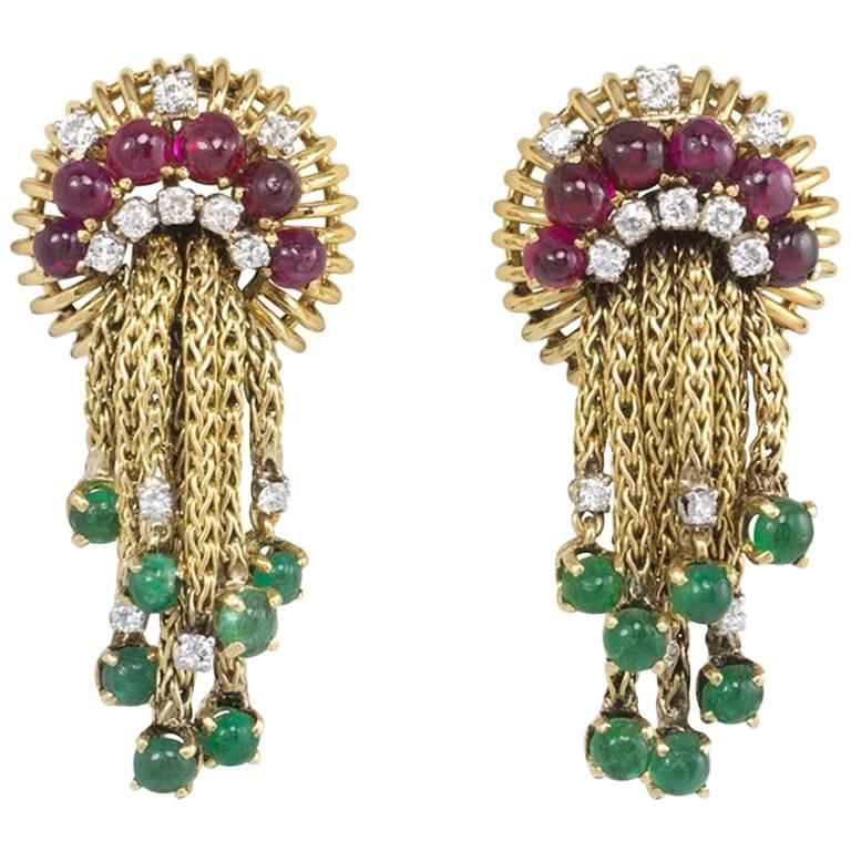 1950s Gold and Multi-Gemstone Earrings with Foxtail Chain Tassels