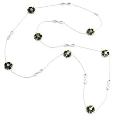 ".925 Sterling Silver 15 x 7 mm Olive Peridot 46"" Blossom Infinity Lariat"