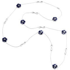 ".925 Sterling Silver 15 x 7 mm Dark Blue Sapphire 46"" Blossom Infinity Lariat"