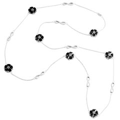 ".925 Sterling Silver 15 x 7 mm Black Sapphire 46"" Blossom Infinity Lariat"