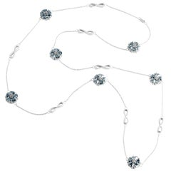 ".925 Sterling Silver 15 x 7 mm Light Blue Sapphire 46"" Blossom Infinity Lariat"