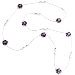".925 Sterling Silver 15 x 7 mm Amethyst 46"" Blossom Infinity Lariat"