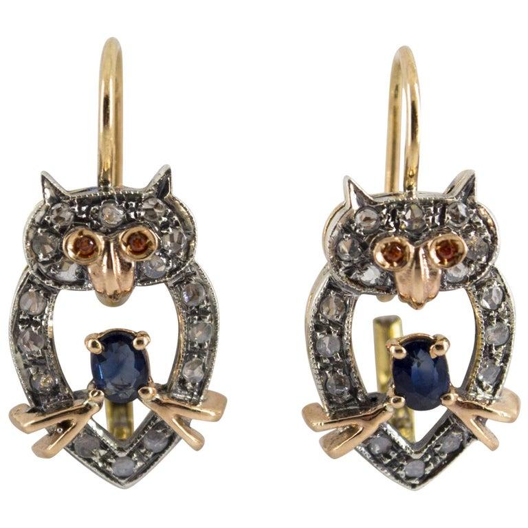 "0.52 Carat Sapphire Ruby 0.20 Carat Diamond Yellow Gold ""Owls"" Earrings"
