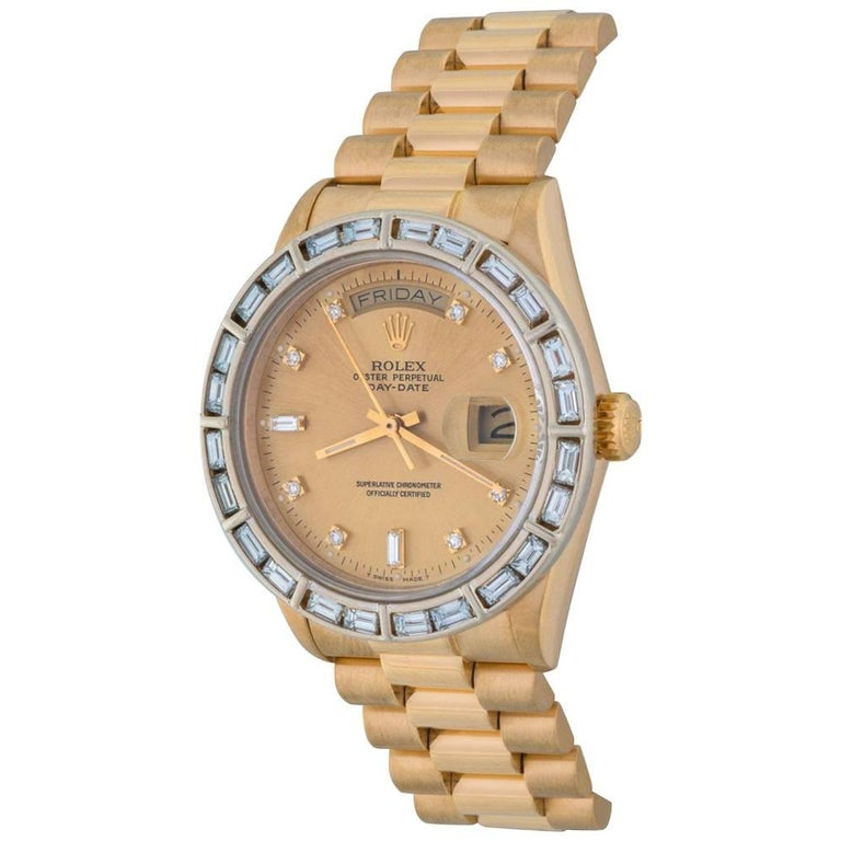 Rolex Yellow Gold President Day-Date Oyster With Diamonds Automatic Wristwatch