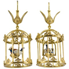 "0.35 Carat Diamond Enamel Yellow Gold Stud ""Bird Cage"" Earrings"