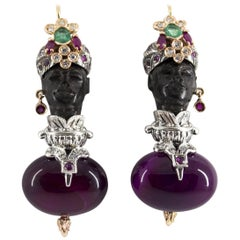 1.90 Carat Emerald Ruby Diamond Agate Ebony Yellow Gold Moor of Venice Earrings