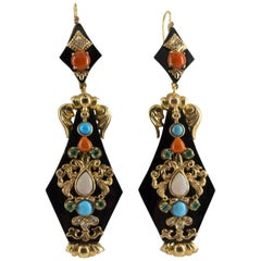 White Diamond Emerald Opal Turquoise Coral Onyx Yellow Gold Lever-Back Earrings