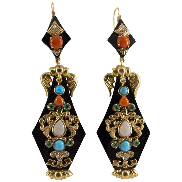 Diamond Emerald Opal Turquoise Coral Onyx Yellow Gold Lever-Back Earrings