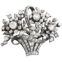 Johan Rozendaal Dutch Rose Diamond Gold Silver Giadinetto Flower Basket Brooch