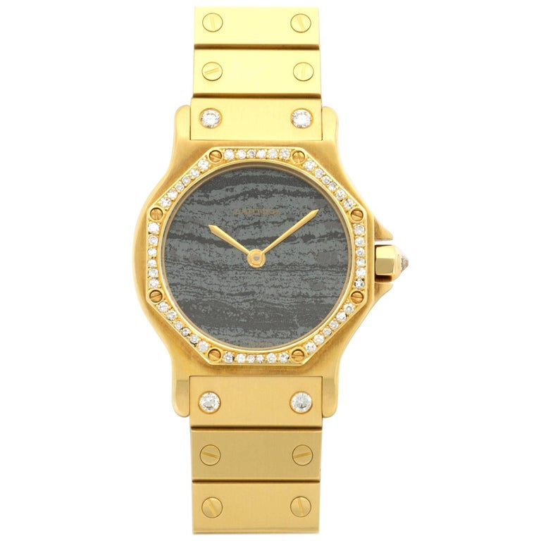 Cartier Yellow Gold Diamond Stone Dial Santos Automatic Wristwatch, circa 1980s