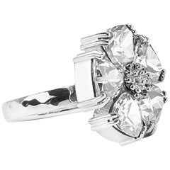 .925 Sterling Silver 5x7mm Size 6 White Sapphire Blossom Stone Ring