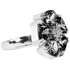 .925 Sterling Silver 5x7mm Size 6 Black Sapphire Blossom Stone Ring