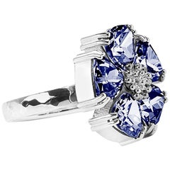 .925 Sterling Silver 5x7mm Size 6 Dark Blue Sapphire Blossom Stone Ring