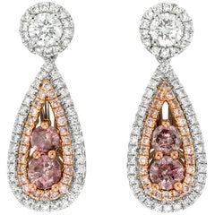 Yael Designs GIA Cert Pink Diamond White Diamond Platinum and 18kt Gold Earrings