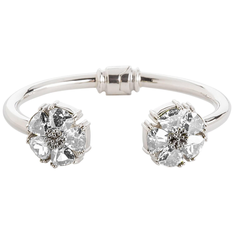 White Topaz Blossom Stone Hinge Bracelet