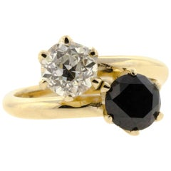 Black and White Diamond Yellow Gold Bypass Ring (Certified)