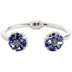 Dark Blue Sapphire Blossom Stone Hinge Bracelet